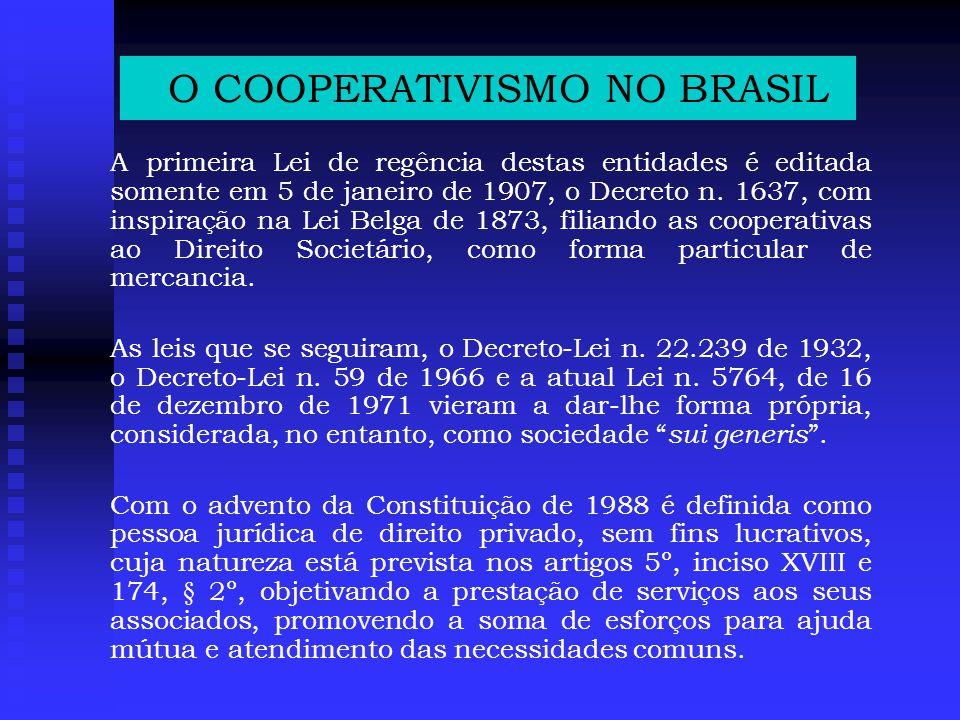 O COOPERATIVISMO NO BRASIL A primeira Lei de regência destas entidades é editada somente em 5 de janeiro de 1907, o Decreto n.