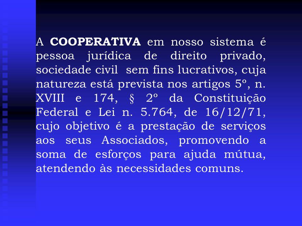 A COOPERATIVA em nosso sistema é pessoa jurídica de direito privado, sociedade civil sem fins lucrativos, cuja natureza está prevista nos artigos 5º, n.