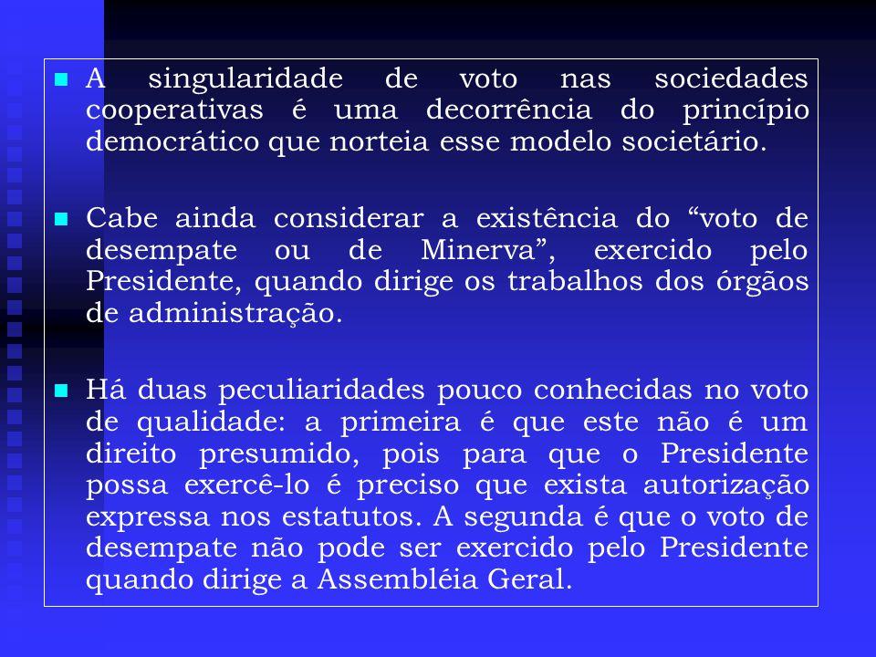   A singularidade de voto nas sociedades cooperativas é uma decorrência do princípio democrático que norteia esse modelo societário.