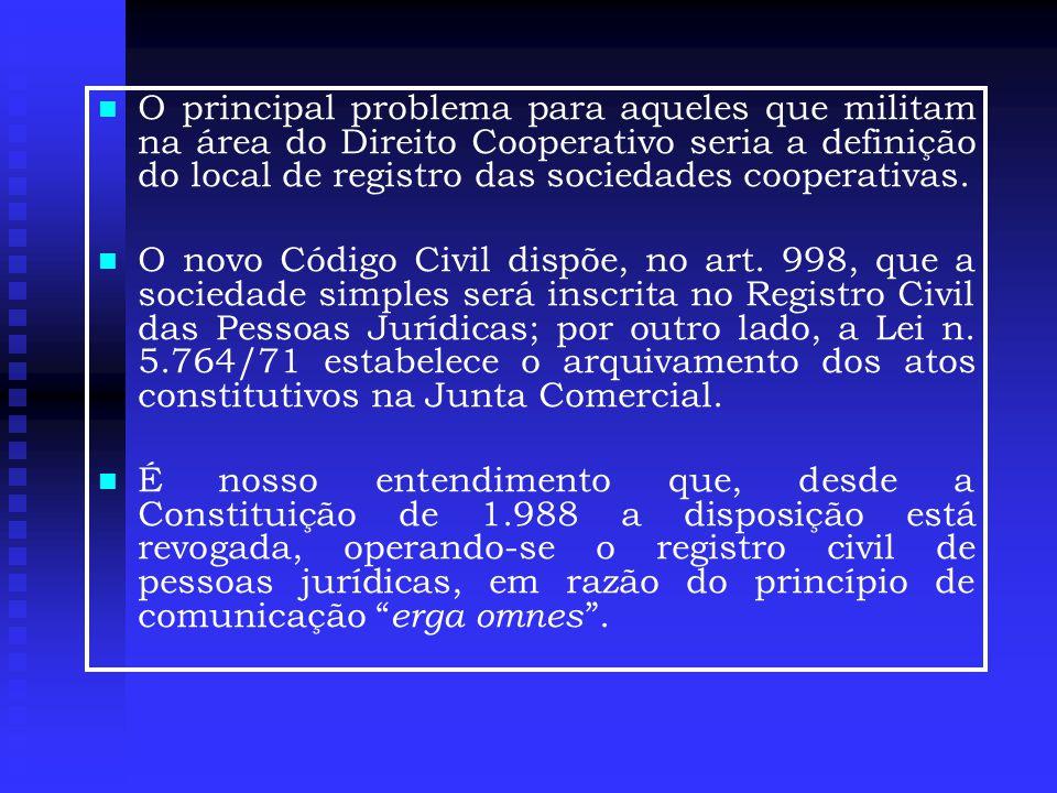  O principal problema para aqueles que militam na área do Direito Cooperativo seria a definição do local de registro das sociedades cooperativas.