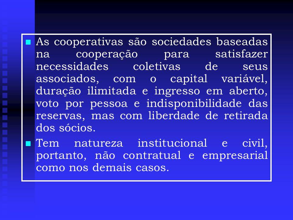   As cooperativas são sociedades baseadas na cooperação para satisfazer necessidades coletivas de seus associados, com o capital variável, duração ilimitada e ingresso em aberto, voto por pessoa e indisponibilidade das reservas, mas com liberdade de retirada dos sócios.