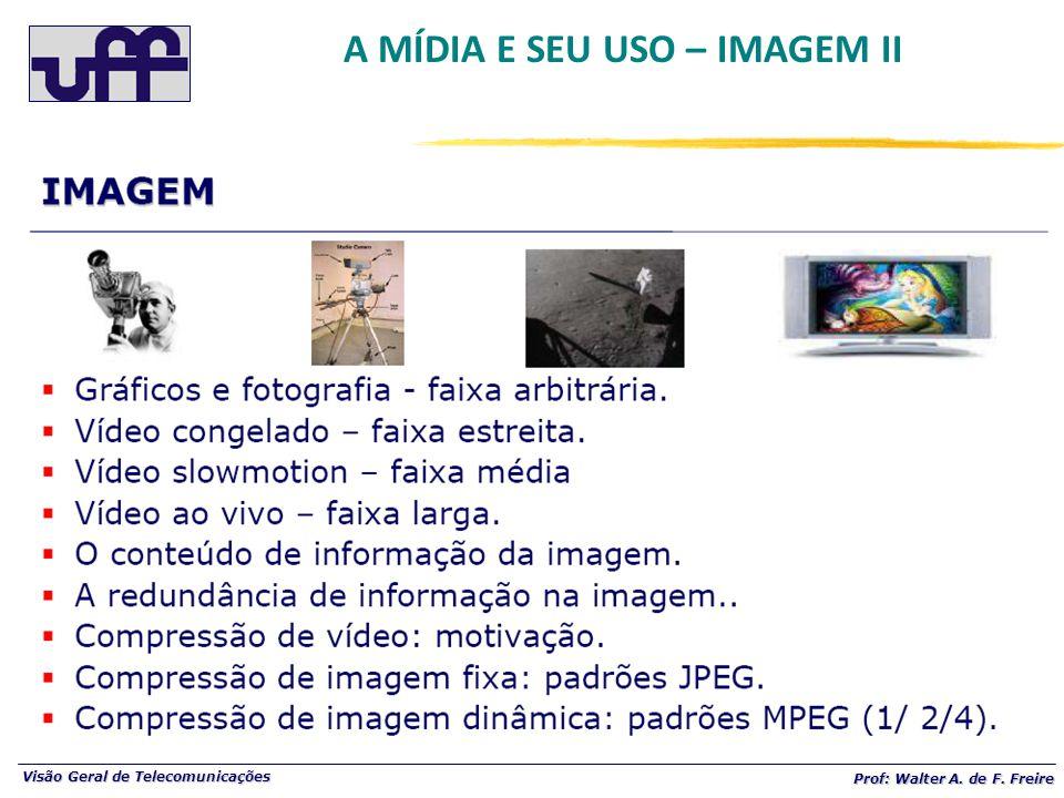Visão Geral de Telecomunicações Prof: Walter A. de F. Freire A MÍDIA E SEU USO – IMAGEM II