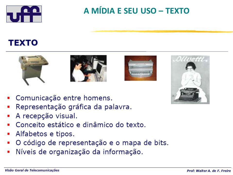 Visão Geral de Telecomunicações Prof: Walter A. de F. Freire A MÍDIA E SEU USO – TEXTO
