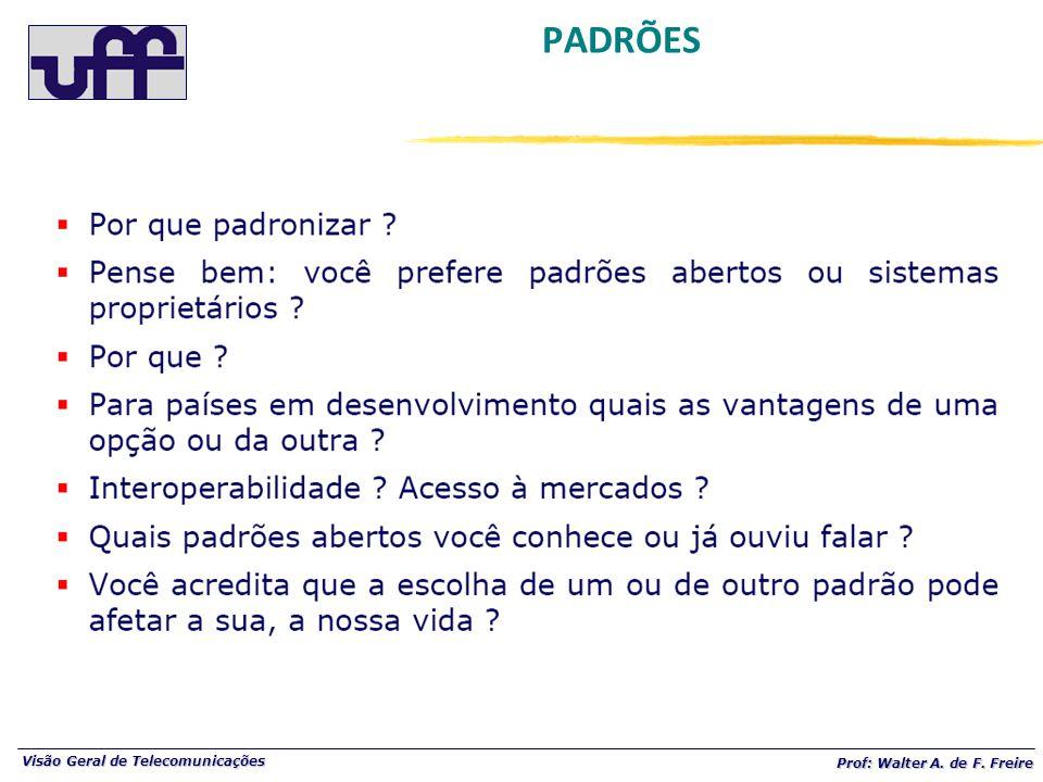 Visão Geral de Telecomunicações Prof: Walter A. de F. Freire PADRÕES