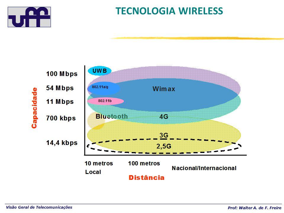 Visão Geral de Telecomunicações Prof: Walter A. de F. Freire TECNOLOGIA WIRELESS