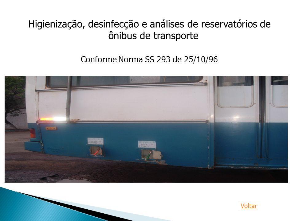 Higienização, desinfecção e análises de reservatórios de ônibus de transporte Conforme Norma SS 293 de 25/10/96 Voltar