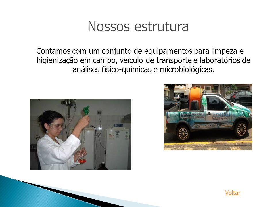 Contamos com um conjunto de equipamentos para limpeza e higienização em campo, veículo de transporte e laboratórios de análises físico-químicas e micr