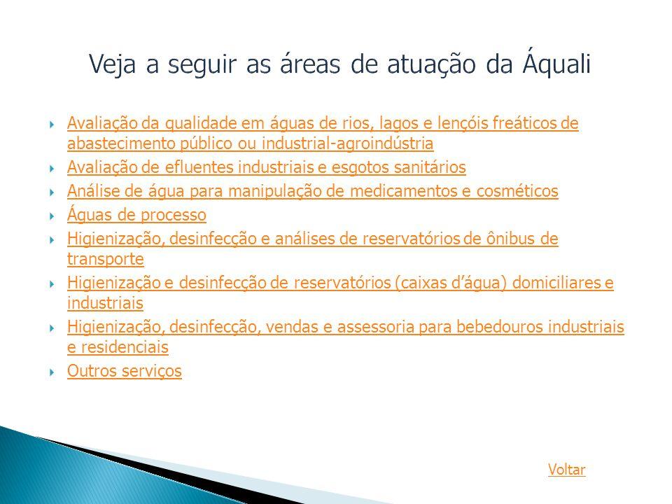  Avaliação da qualidade em águas de rios, lagos e lençóis freáticos de abastecimento público ou industrial-agroindústria Avaliação da qualidade em ág