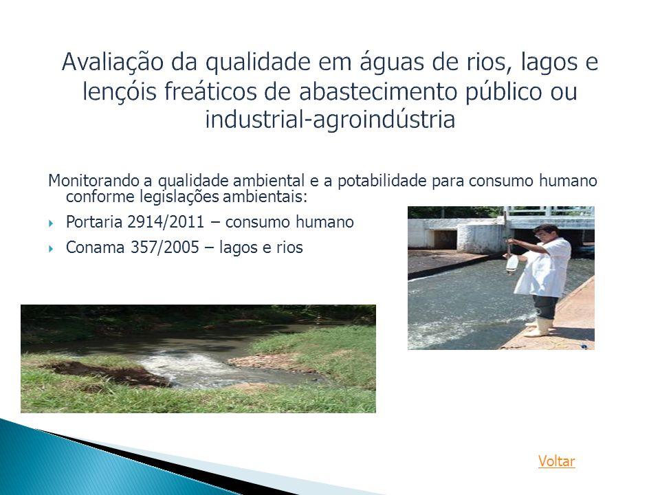 Monitorando a qualidade ambiental e a potabilidade para consumo humano conforme legislações ambientais:  Portaria 2914/2011 – consumo humano  Conama