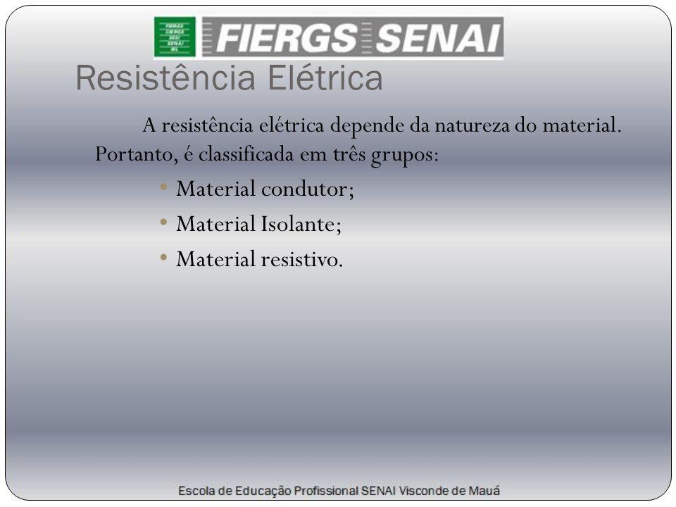 Resistência Elétrica A resistência elétrica depende da natureza do material. Portanto, é classificada em três grupos: • Material condutor; • Material