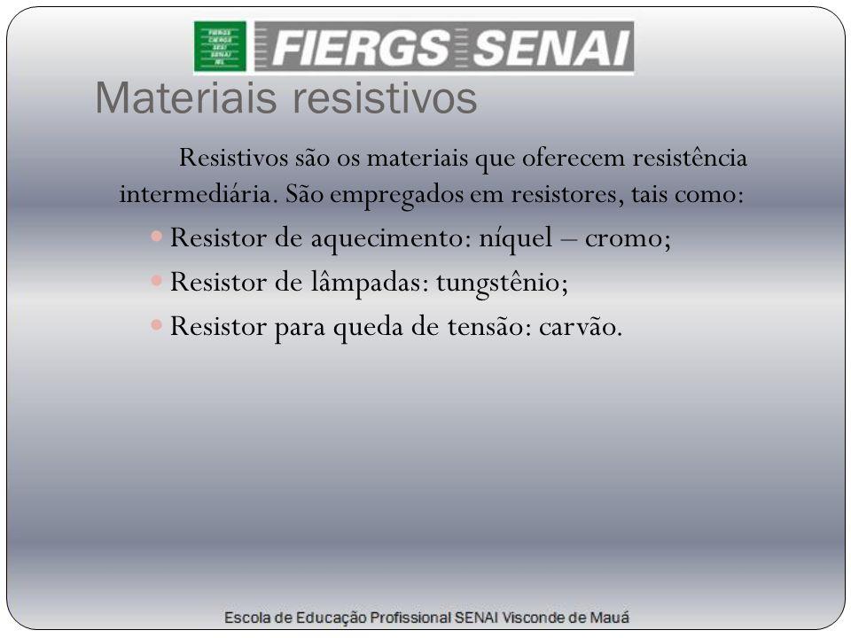 Materiais resistivos Resistivos são os materiais que oferecem resistência intermediária. São empregados em resistores, tais como:  Resistor de aqueci