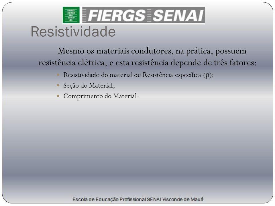 Resistividade Mesmo os materiais condutores, na prática, possuem resistência elétrica, e esta resistência depende de três fatores:  Resistividade do