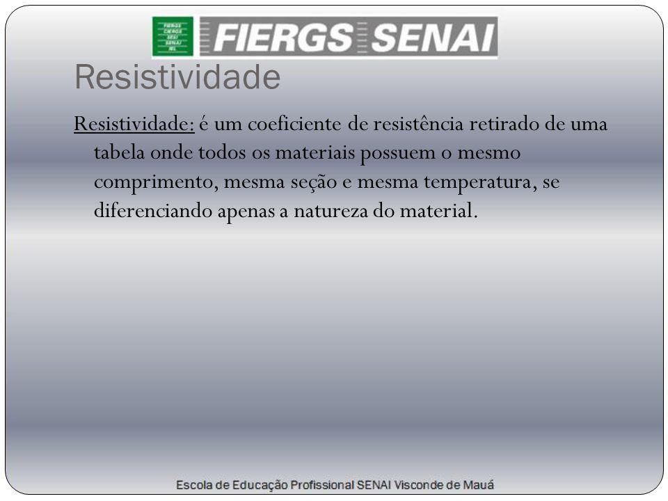 Resistividade Resistividade: é um coeficiente de resistência retirado de uma tabela onde todos os materiais possuem o mesmo comprimento, mesma seção e