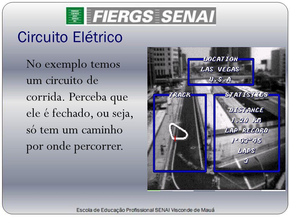 Circuito Elétrico No exemplo temos um circuito de corrida. Perceba que ele é fechado, ou seja, só tem um caminho por onde percorrer.