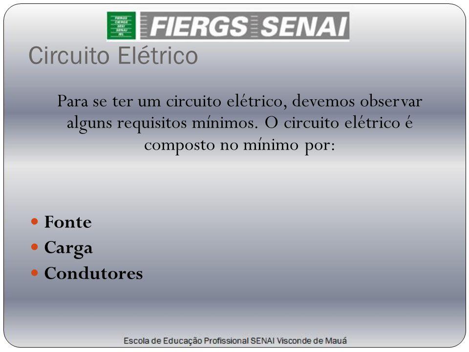 Para se ter um circuito elétrico, devemos observar alguns requisitos mínimos. O circuito elétrico é composto no mínimo por:  Fonte  Carga  Condutor