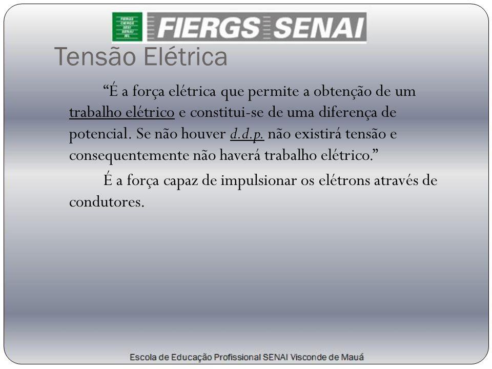 """Tensão Elétrica """"É a força elétrica que permite a obtenção de um trabalho elétrico e constitui-se de uma diferença de potencial. Se não houver d.d.p."""