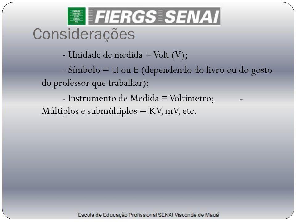 Considerações - Unidade de medida = Volt (V); - Símbolo = U ou E (dependendo do livro ou do gosto do professor que trabalhar); - Instrumento de Medida