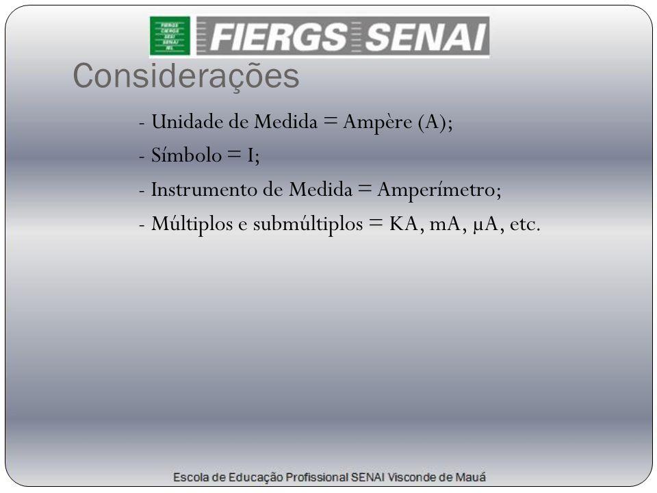 Considerações - Unidade de Medida = Ampère (A); - Símbolo = I; - Instrumento de Medida = Amperímetro; - Múltiplos e submúltiplos = KA, mA, µA, etc.
