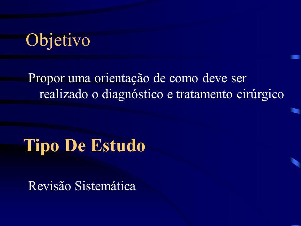 Objetivo Tipo De Estudo Propor uma orientação de como deve ser realizado o diagnóstico e tratamento cirúrgico Revisão Sistemática
