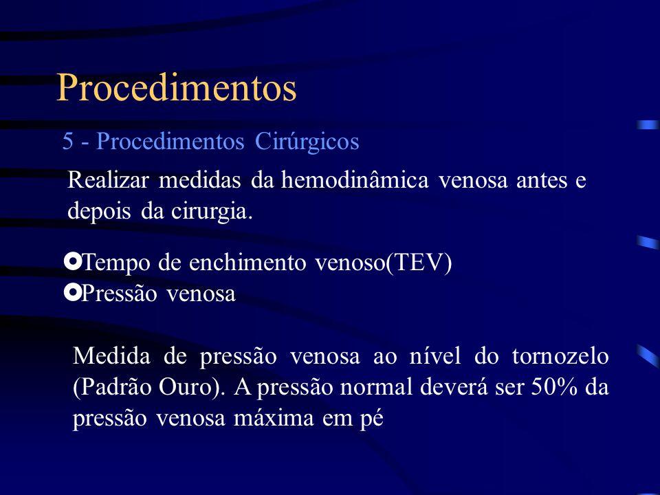 Procedimentos 5 - Procedimentos Cirúrgicos Realizar medidas da hemodinâmica venosa antes e depois da cirurgia.  Tempo de enchimento venoso(TEV)  Pre