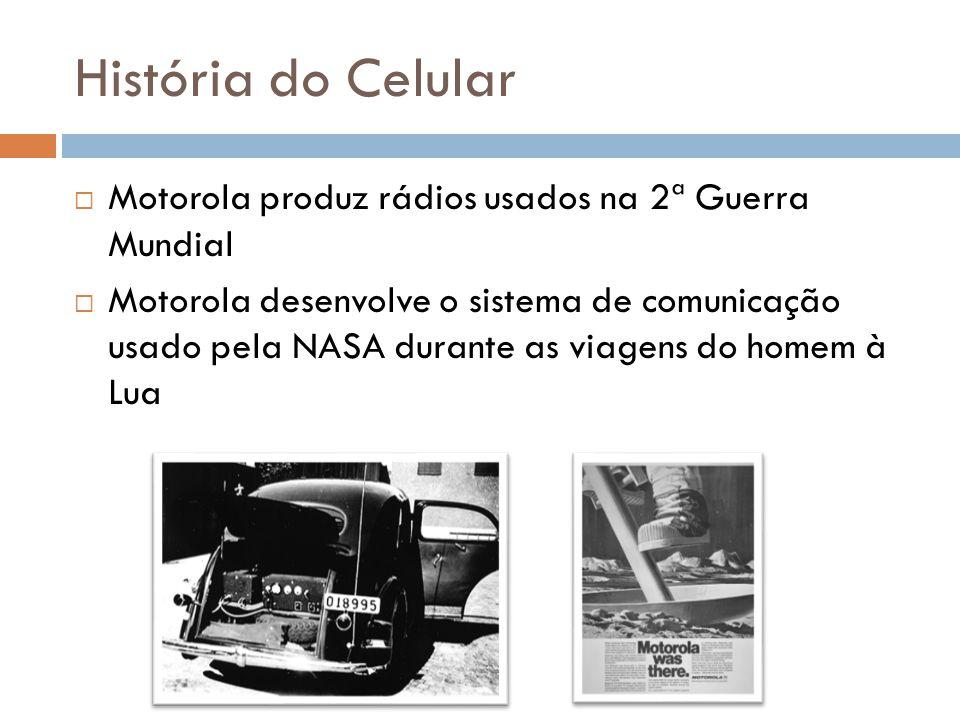 História do Celular  Motorola produz rádios usados na 2ª Guerra Mundial  Motorola desenvolve o sistema de comunicação usado pela NASA durante as via