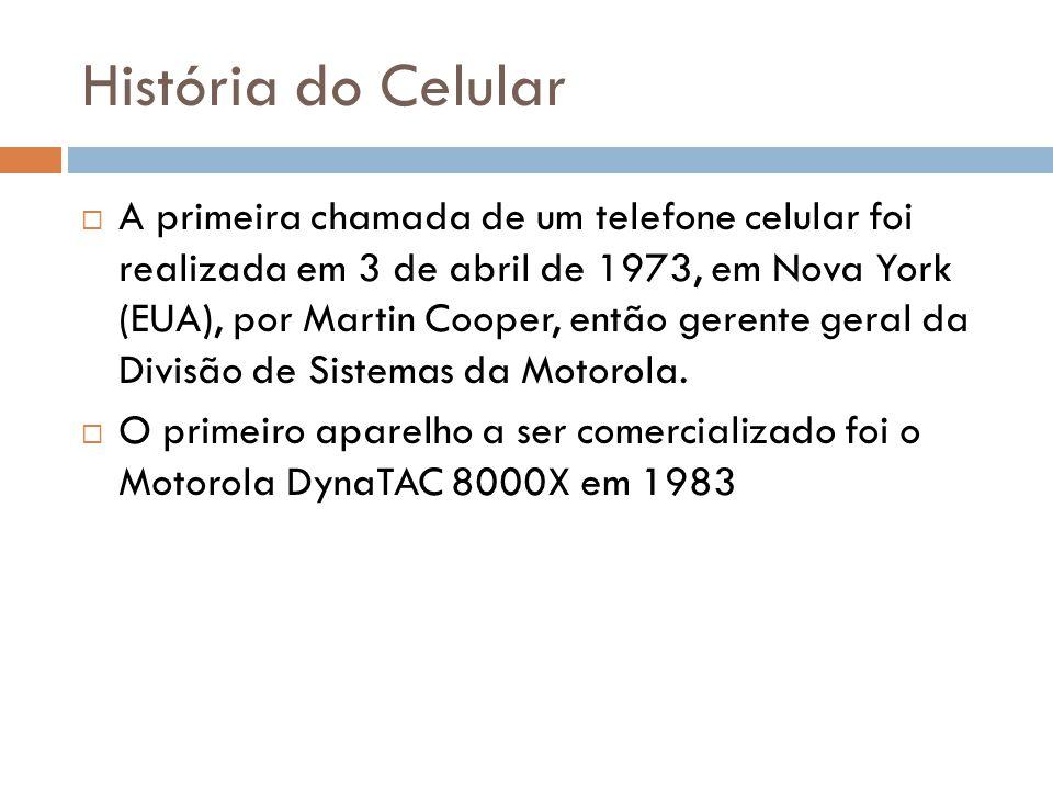 História do Celular  A primeira chamada de um telefone celular foi realizada em 3 de abril de 1973, em Nova York (EUA), por Martin Cooper, então gere