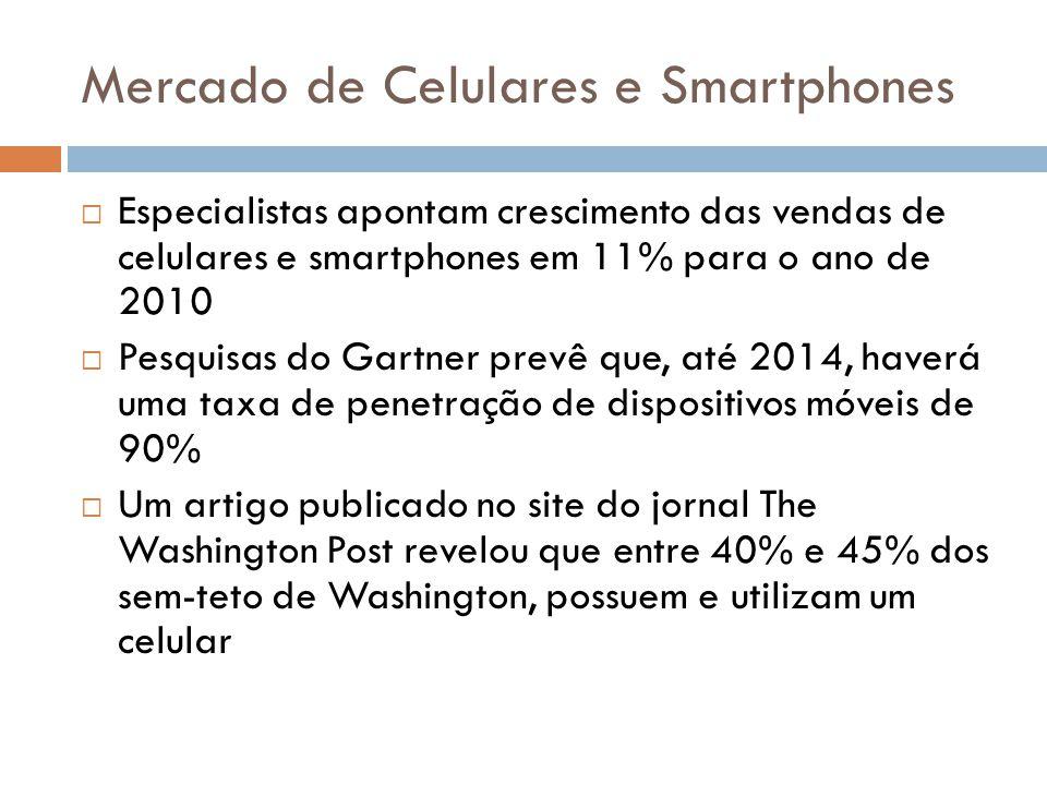  Especialistas apontam crescimento das vendas de celulares e smartphones em 11% para o ano de 2010  Pesquisas do Gartner prevê que, até 2014, haverá
