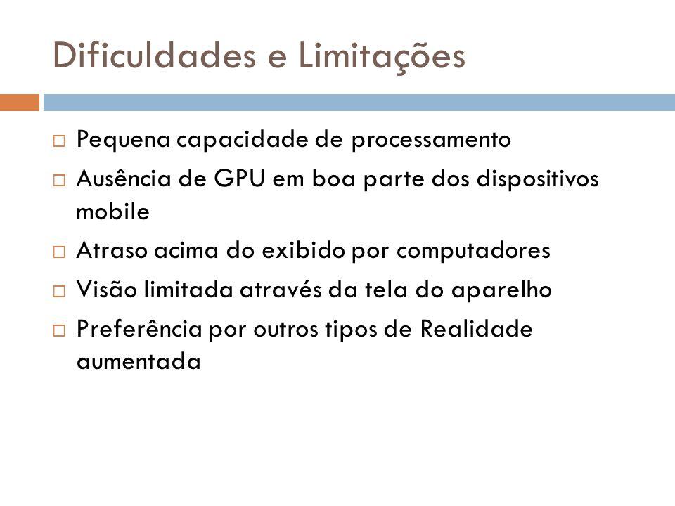 Dificuldades e Limitações  Pequena capacidade de processamento  Ausência de GPU em boa parte dos dispositivos mobile  Atraso acima do exibido por c