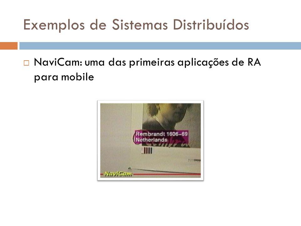 Exemplos de Sistemas Distribuídos  NaviCam: uma das primeiras aplicações de RA para mobile