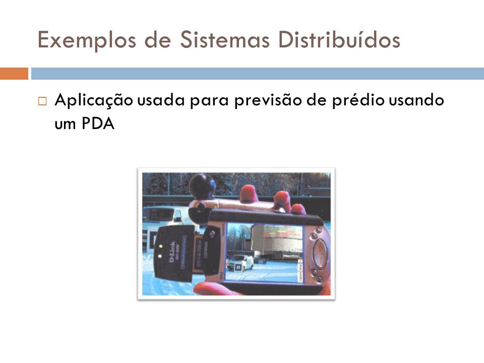 Exemplos de Sistemas Distribuídos  Aplicação usada para previsão de prédio usando um PDA