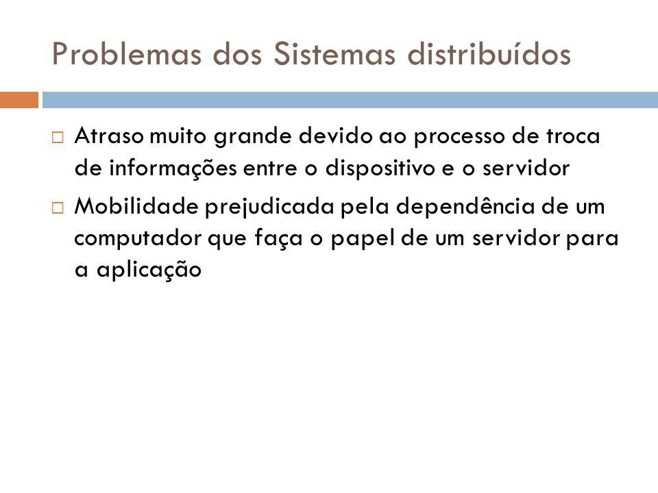 Problemas dos Sistemas distribuídos  Atraso muito grande devido ao processo de troca de informações entre o dispositivo e o servidor  Mobilidade pre