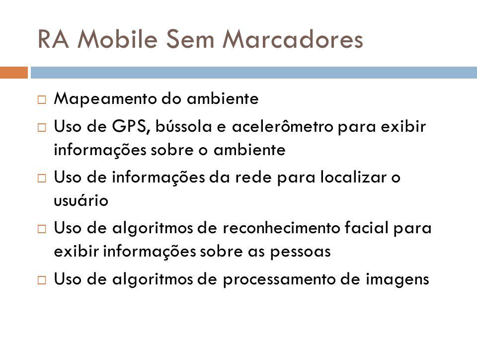 RA Mobile Sem Marcadores  Mapeamento do ambiente  Uso de GPS, bússola e acelerômetro para exibir informações sobre o ambiente  Uso de informações d