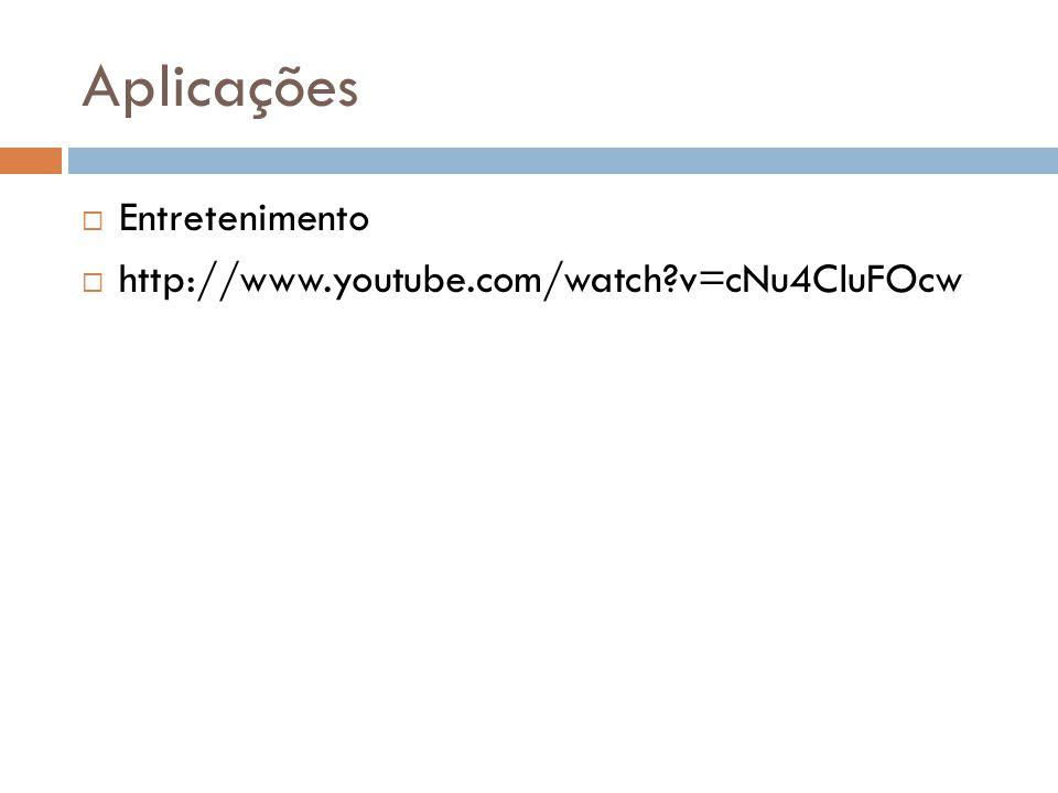 Aplicações  Entretenimento  http://www.youtube.com/watch?v=cNu4CluFOcw