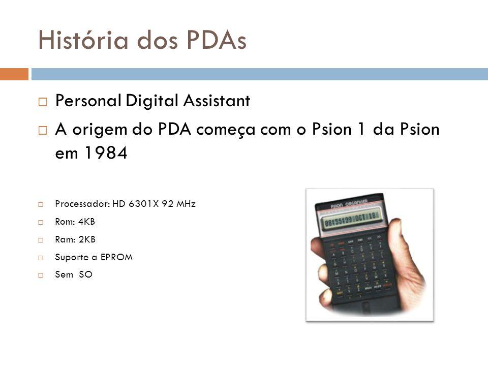História dos PDAs  Personal Digital Assistant  A origem do PDA começa com o Psion 1 da Psion em 1984  Processador: HD 6301X 92 MHz  Rom: 4KB  Ram