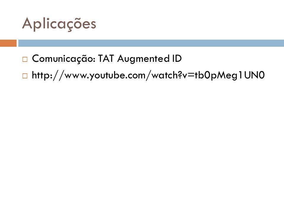 Aplicações  Comunicação: TAT Augmented ID  http://www.youtube.com/watch?v=tb0pMeg1UN0