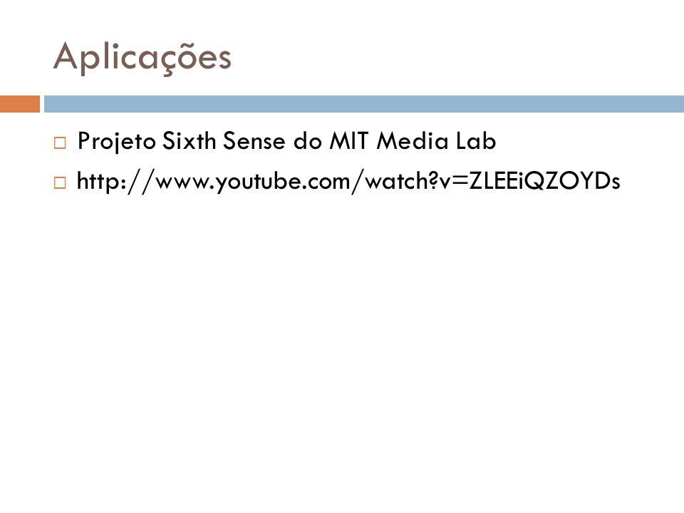 Aplicações  Projeto Sixth Sense do MIT Media Lab  http://www.youtube.com/watch?v=ZLEEiQZOYDs