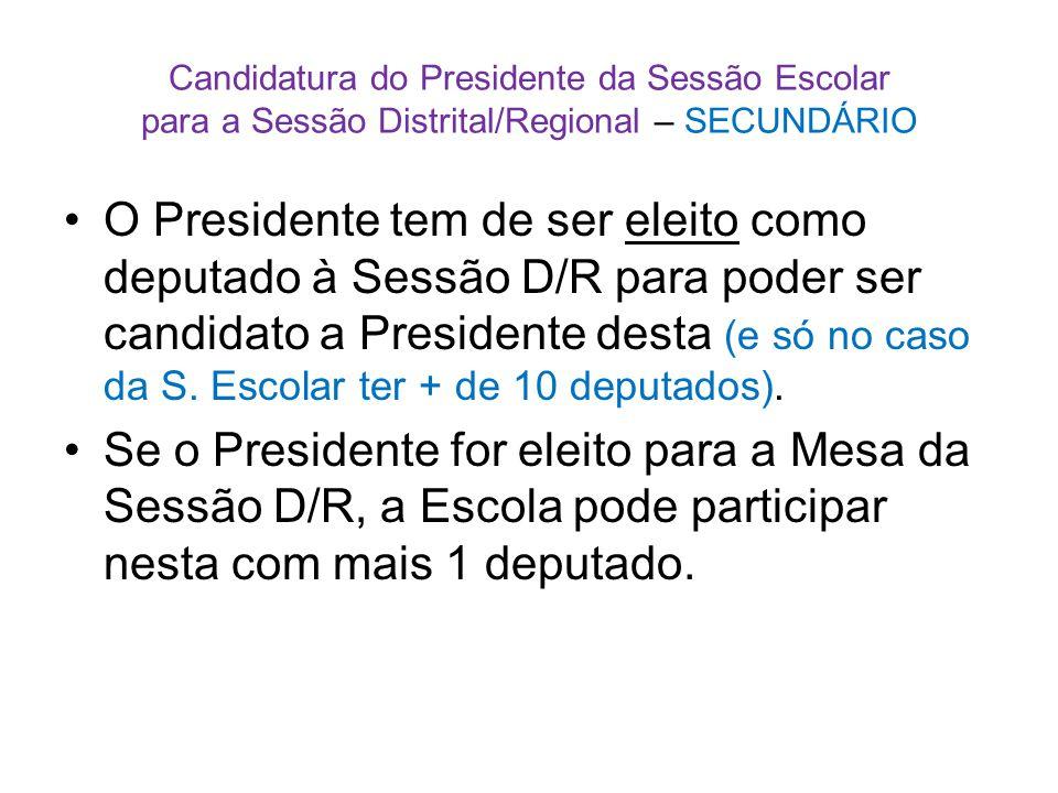 Candidatura do Presidente da Sessão Escolar para a Sessão Distrital/Regional – SECUNDÁRIO •O Presidente tem de ser eleito como deputado à Sessão D/R para poder ser candidato a Presidente desta (e só no caso da S.
