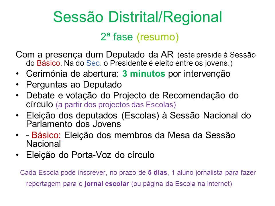 Sessão Distrital/Regional 2ª fase (resumo) Com a presença dum Deputado da AR (este preside à Sessão do Básico.
