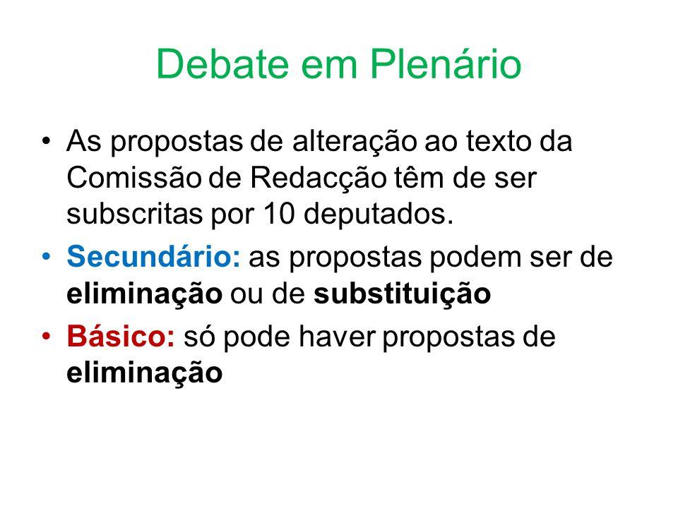 Debate em Plenário •As propostas de alteração ao texto da Comissão de Redacção têm de ser subscritas por 10 deputados.