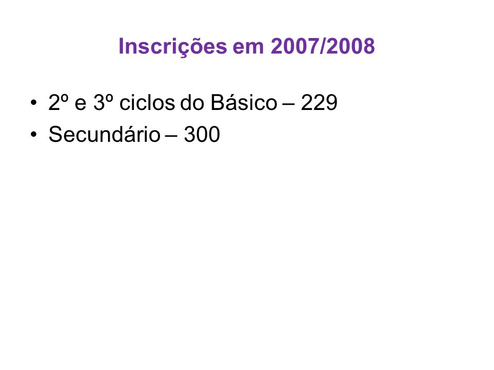 Inscrições em 2007/2008 •2º e 3º ciclos do Básico – 229 •Secundário – 300