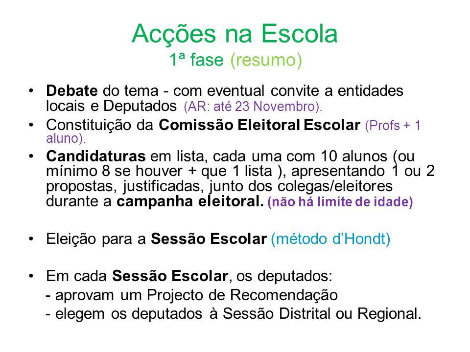 Acções na Escola 1ª fase (resumo) •Debate do tema - com eventual convite a entidades locais e Deputados (AR: até 23 Novembro).