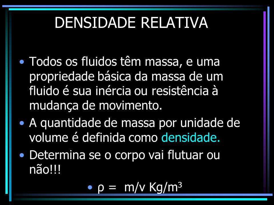 DENSIDADE RELATIVA •Todos os fluidos têm massa, e uma propriedade básica da massa de um fluido é sua inércia ou resistência à mudança de movimento. •A