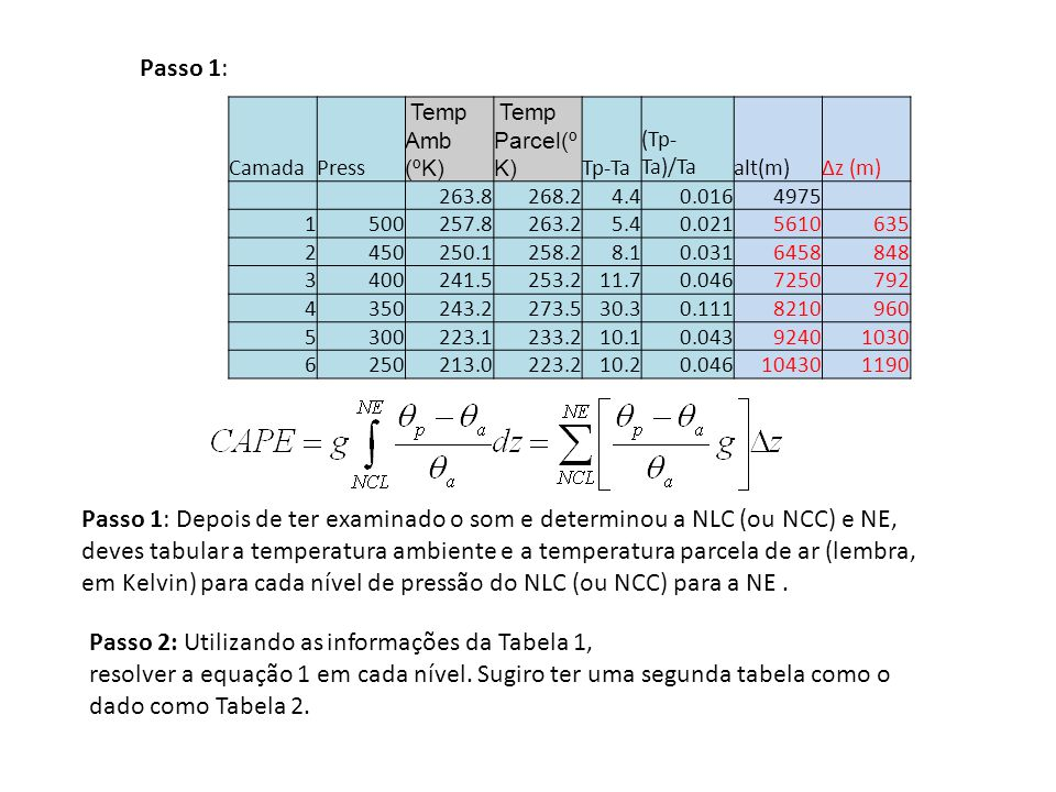 Passo 1: Depois de ter examinado o som e determinou a NLC (ou NCC) e NE, deves tabular a temperatura ambiente e a temperatura parcela de ar (lembra, e