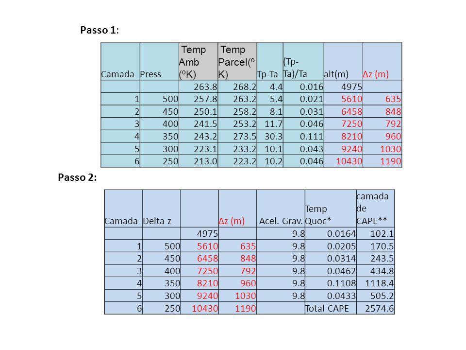 Passo 1: Passo 2: CamadaPress Temp Amb (ºK) Temp Parcel(º K) Tp-Ta (Tp- Ta)/Taalt(m)Δz (m) 263.8268.24.40.0164975 1500257.8263.25.40.0215610635 245025