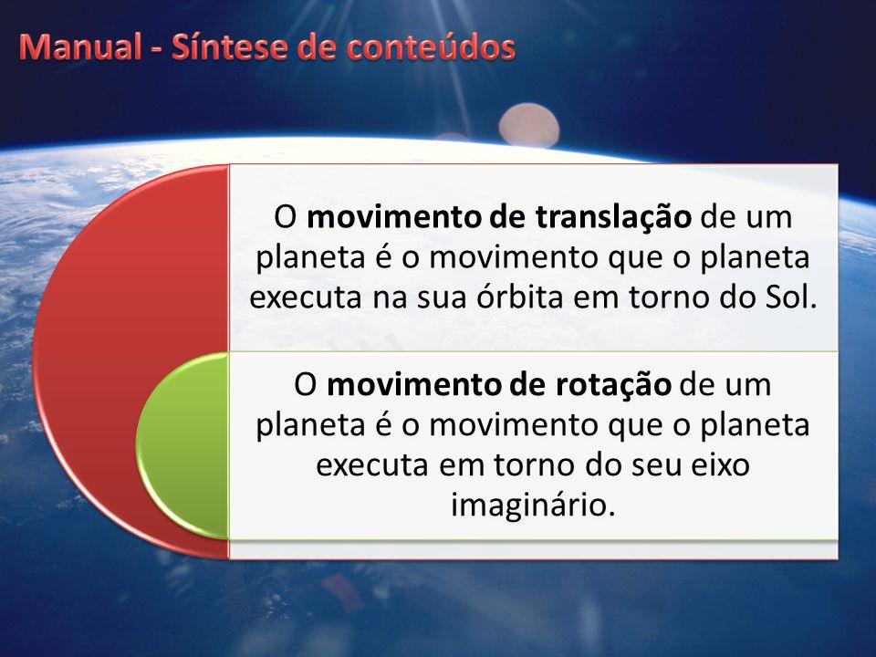O movimento de translação de um planeta é o movimento que o planeta executa na sua órbita em torno do Sol. O movimento de rotação de um planeta é o mo