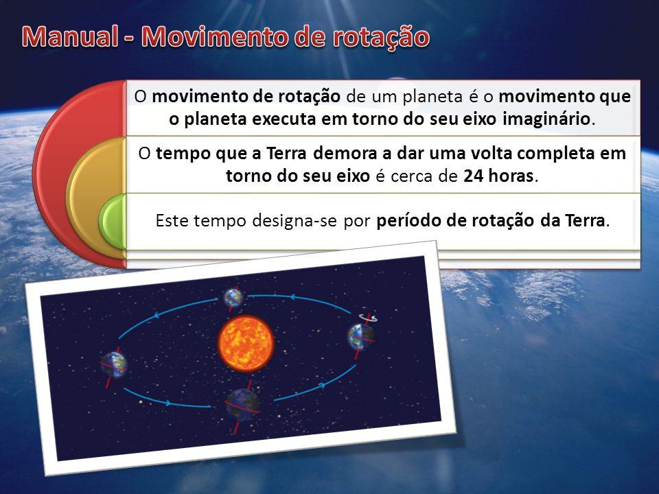 O movimento de rotação de um planeta é o movimento que o planeta executa em torno do seu eixo imaginário. O tempo que a Terra demora a dar uma volta c