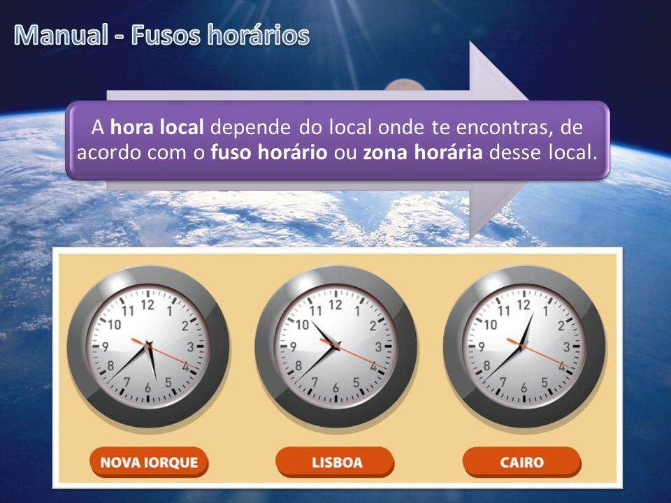 A hora local depende do local onde te encontras, de acordo com o fuso horário ou zona horária desse local.