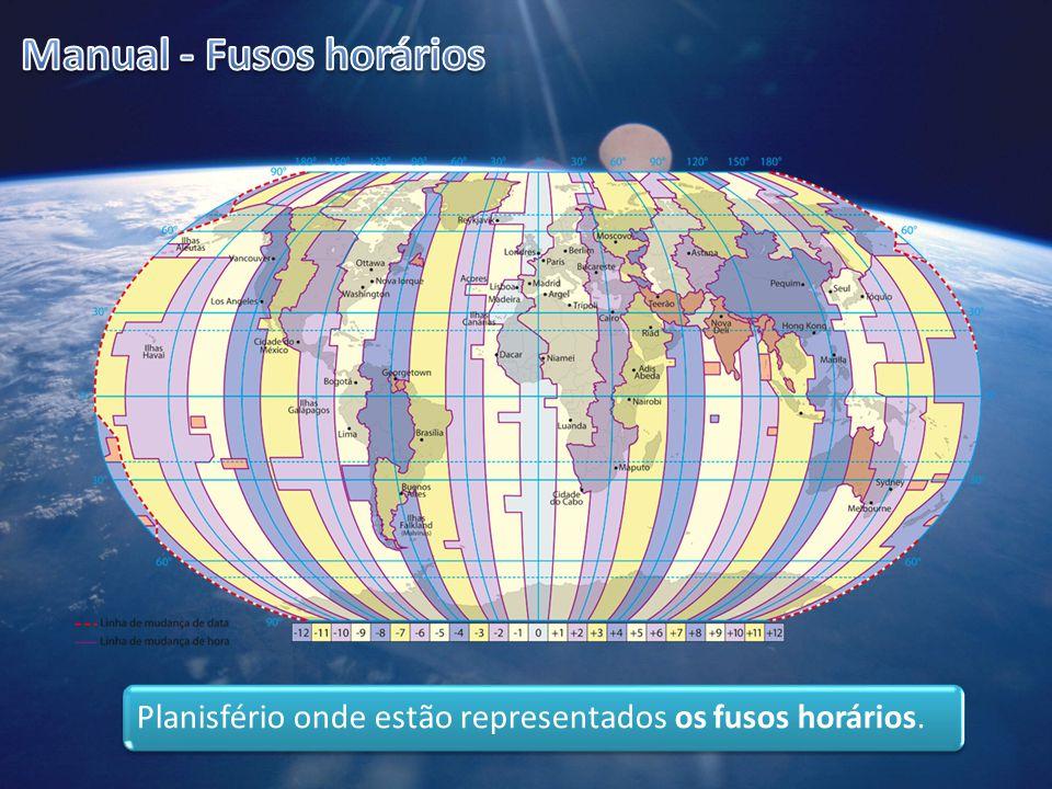 Planisfério onde estão representados os fusos horários.