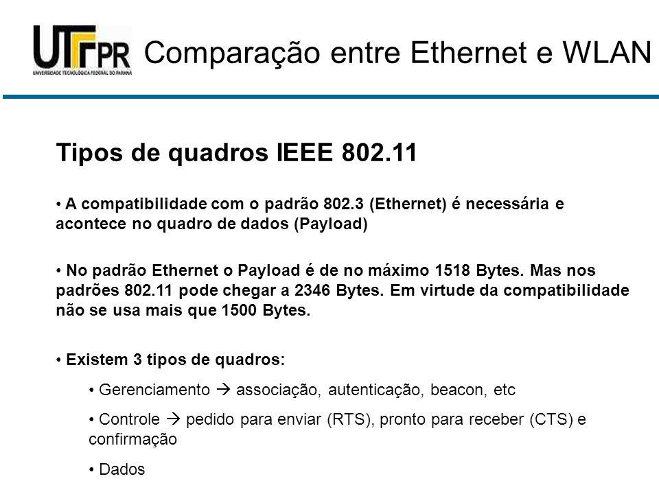 Tipos de quadros IEEE 802.11 • A compatibilidade com o padrão 802.3 (Ethernet) é necessária e acontece no quadro de dados (Payload) • No padrão Ethern