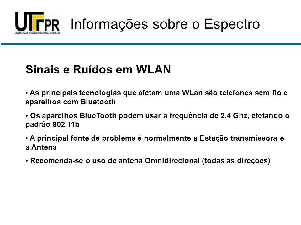 Sinais e Ruídos em WLAN • As principais tecnologias que afetam uma WLan são telefones sem fio e aparelhos com Bluetooth • Os aparelhos BlueTooth podem